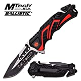 Mtech 8' Fire Fighter Red Spring Assisted Folding Knife Blade Pocket Open Switch- Firefighter Rescue Pocket Knife - Hunting Knives, Military Surplus - Survival and Camping Gear