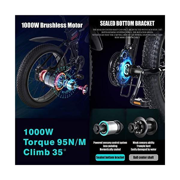 "51bB+P4UkUL. SS600  - Skyzzie Elektrofahrrad Fahrräder Mountainbikes F0148V, 26"" x4.0 Fatbike Offroad-Reifen E-Bike Cityräder mit Motor, 1000W 12.8Ah 50 km Akkulaufzeit, Rot, Grün"