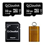 Cloudisk 2Pack 32 GB tarjeta micro SD, 100% capacidad real Class10 UHS-1 tarjeta de memoria flash tarjetas de memoria Micros