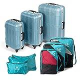 MasterGear Hartschalen Koffer mit Aluminium Rahmen 3er Set + Kleidertaschen Set in petrol - mit 4 Rollen (360 Grad), Trolley, Reisekoffer, ABS, TSA, S (Handgepäck Maße)-M-L, stapelbar, blau