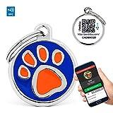 PERDIDUS Placa Identificativa para Perros QR y NFC. Sistema GPS Huella Naranja.