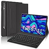 DINGRICH Funda Teclado Español Ñ para Samsung Tab S7, Funda Protectora con Bluetooth Teclado Portalápiz Extraíble Inalámbrico para Tablet Samsung Galaxy Tab S7 SM-T870/T875/T878 11' 2020 Negro