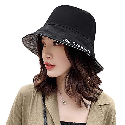 CHERISH Sombrero de pescador para mujer, de algodón, reversible, sombrero de playa