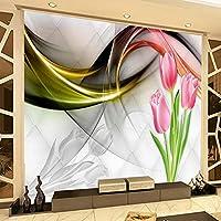 カスタム3D写真壁紙壁画チューリップ花抽象的な煙アート壁画リビングルームソファテレビ背景壁紙モダン-400x280cm
