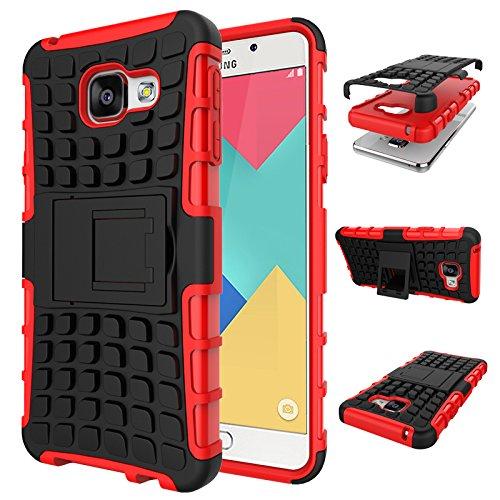 Qiaogle Telefono Case - Shock Proof TPU + PC Hibrida Stents Protettiva Case Cover per Samsung Galaxy A3 (2016) / A3 (2016) Duos / A3100 (4.7 Pollici) - HH01 / Rosso