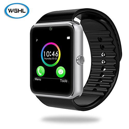 WGHL Wearable Bluetooth Touch Screen Smart Watch with Camera and SIM Card Slot for Android Samsung HTC LG SONY (Full...