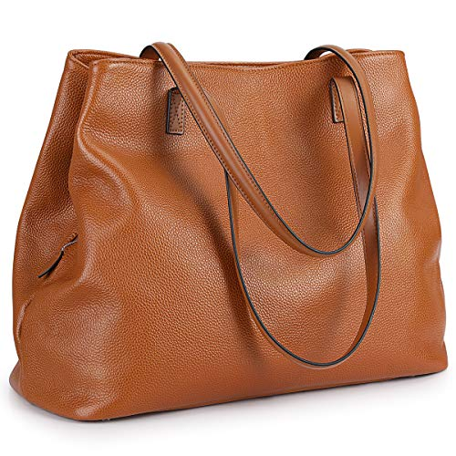 S-ZONE Damen Handtasche Weiches Echtleder Große Faltbare Shopper Schultertasche 13 Inch Laptoptasche Abeitstasche Henkeltaschen