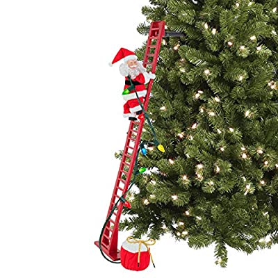 Animated Santa Climbing Red Ladder with LED Lights
