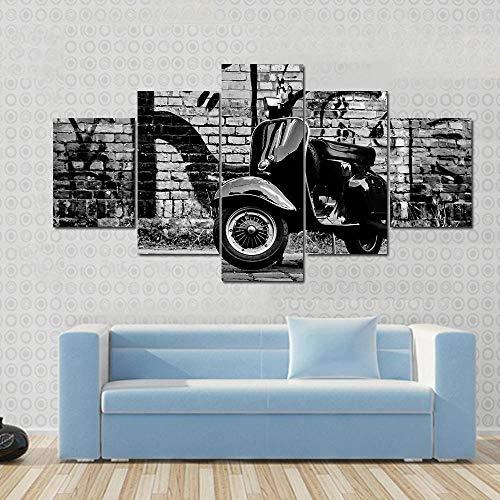 104Tdfc Cuadro sobre Lienzo 5 Piezas Impresión En Lienzo Scooter en Frente de 200X100CM Grabados e Impresiones Obras de Arte Hogar Decorativo Impresiones sobre Lienzo Hogar Regalo
