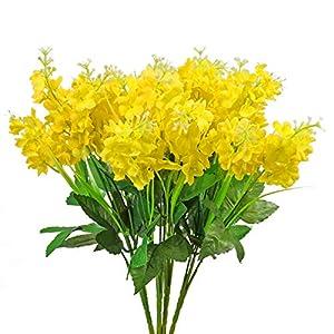 Uieke 4pcs Artificial Wisteria Bundle Yellow Artificial Flowers Fake Flowers Silk Real Touch Floral Bouquet Arrangements for Home DIY Wedding Party Vase Garden Fences Decor