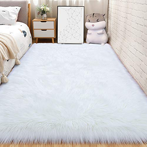 Andecor Soft Fluffy Faux Fur Bedroom Rugs 4 x 5.9 Feet Indoor Wool Sheepskin Area Rug for Girls Baby Living Room Chair Sofa Home Decor Floor Carpet, White