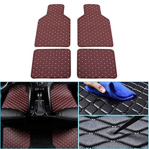 jialaiwo Leder Fußmatten für Hyundai i10 i20 ix20 ix35 i30 i40 Allwetter Wasserdicht Auto fussmatten Innere zubehör Kaffee