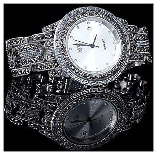 CHXISHOP Reloj de plata de ley 925 con movimiento de cuarzo retro para hombre y mujer, reloj gótico blanco, 17,5 cm