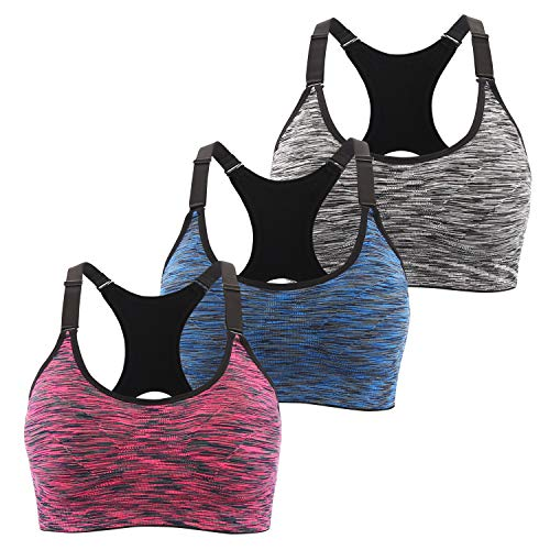 INIBUD Sports Bras Women's 1/3er Pack Padded Seamless Bras Racerback Yoga Fitness Running Push Up Bra (Black+Blue+Purple, M)