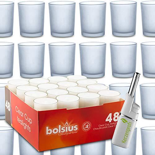 DecoLite Set: 24 Teelichthalter Promo satiniert (Sandra Rich) & 48 Teelichter mit 8 Stunden Brenndauer (bolsius) inkl. Kerzenprofi Stabfeuerzeug
