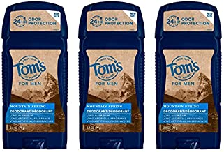 Tom's of Maine Men's Long Lasting Wide Stick Deodorant, Deodorant for Men, Natural Deodorant, Mountain Spring, 2.8 Ounce, 3-Pack