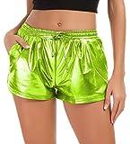 Tandisk Women's Yoga Hot Shorts Shiny Metallic Pants with Elastic Drawstring (Grass Green, 2XL)