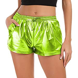 Tandisk Women's Yoga Hot Shorts Shiny Metallic Pants with Elastic Drawstring (Grass Green, S)