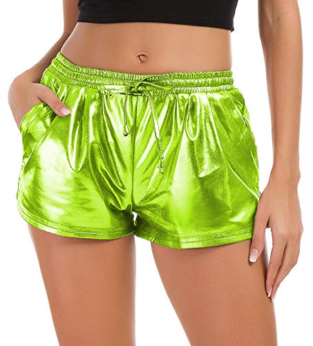 Tandisk Damen Yoga Hot Shorts Glänzende Metallic Pants mit Gummizug Kordelzug - Grün - Mittel