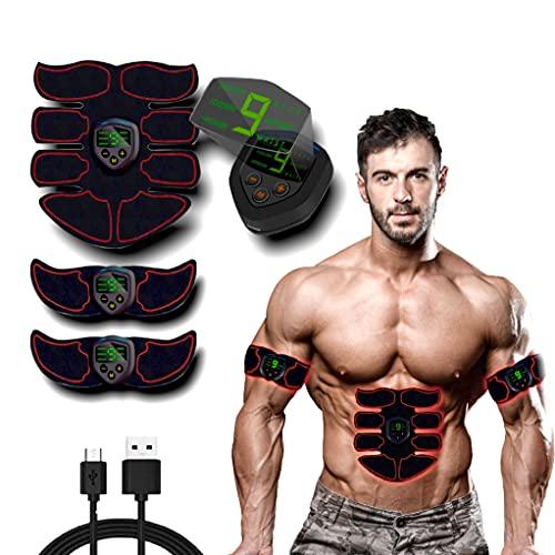 MATEHOM Elettrostimolatore per Addominali, Elettrostimolatore Muscolare, EMS Stimolatore Muscolare, ABS Trainer/Toner per Addome/Braccio/Gambe/Vita Home Gym per Uomo Donna