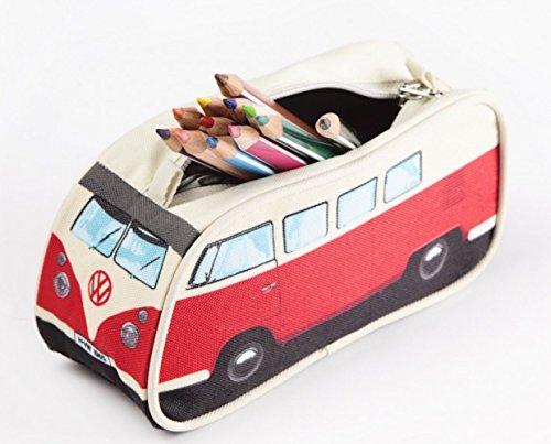 VW Volkswagen T1 Camper Van Pencil Case - Red - Multiple Color Options Available