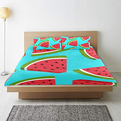 DEZIRO - Juego de funda de edredón para adolescentes, diseño de fruta tropical y sandía, algodón natural puro, tamaño individual con 2 fundas de almohada para decoración de dormitorio de niños, 3 piezas