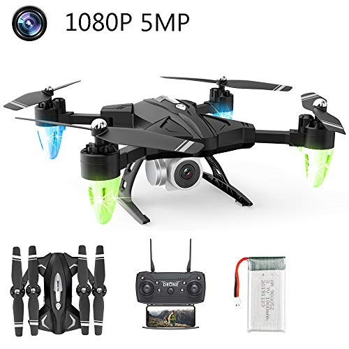 APJS 2.4G WiFi 1080P Drone con Cámara 1080P/480P de Gran Angular FPV Fotos Video RC Quadcopter con Modo Sin Cabeza Hold Altitude con batería extraíble y Cámara, Drones para Niños Adultos,1080P