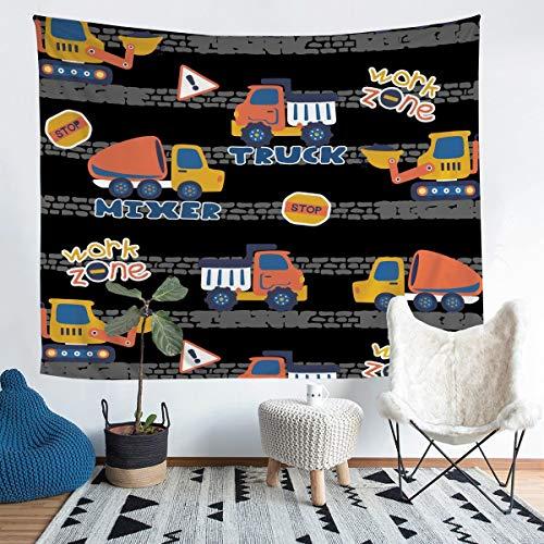 Loussiesd Tapiz para colgar en la pared de coche con dibujos animados para niños, tapiz de pared para coches, diseño geométrico negro, decoración de pared para dormitorio, sala de estar, 152 x 222 cm