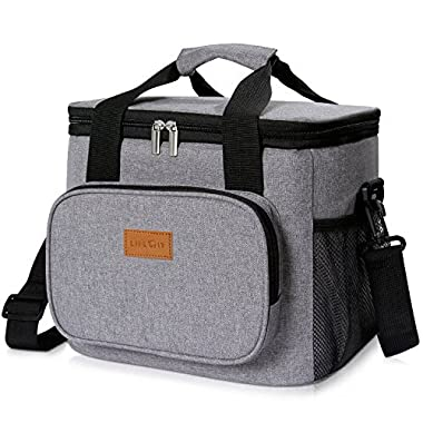 Lifewit 24-Can Large Cooler Bag Insulated Lunch Bag, Soft Cooler Bag for Beach / Picnic / Camping / BBQ, Grey