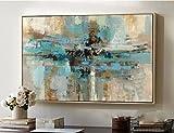 Orlco Art - Pintura abstracta al óleo dorada y verde sobre lienzo grande de color azul y blanco, pintada a mano