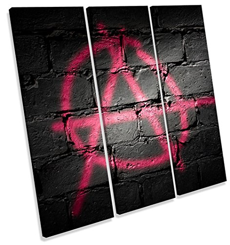 Canvas Geeks Graffiti Dreifach-Leinwand, Anarchie-Schild, quadratisch, 120cm Wide x 120cm high