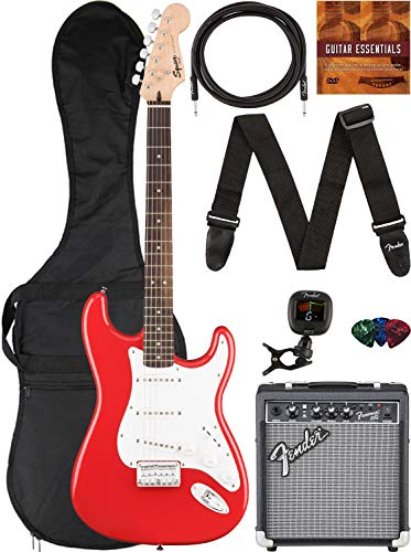 Fender Squier Bullet Stratocaster HT - Fiesta Red Bundle with Frontman 10G Amplifier, Gig Bag, Instrument Cable, Tuner, Strap, Picks, and Austin Bazaar Instructional DVD