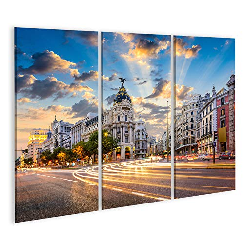 islandburner, Cuadros de Salon Madrid, Paisaje Urbano de España en la Calle de Alcalá y Gran Vía. Cuadro Decoracion de Pared Impresión en Lienzo Formato Grande Modernos PFU-3P-N