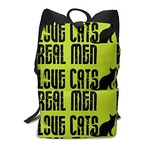 Homebe Rucksäcke,Daypack,Schulrucksack Backpack Für Jungen und Mädchen,Real Men Love Cats Printed Primary Junior High School Bag Bookbag