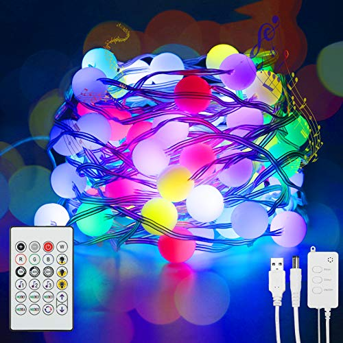 DeepDream RGB LED Fairy Lights 23FT Smart WiFi Bluetooth Globe String Lights with with APP Remote Control Music Mode, Compatible with Alexa and Google Assistant for Home Terrace Christmas Decor