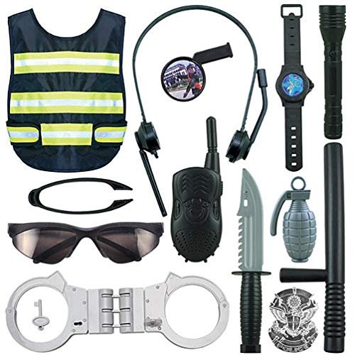 NUOBESTY 1 Set Nios Accesorios de Polica Juguetes Nio Polica Disfraz Swat Dress up Juego de Simulacin Playset America Juego de rol para Nios Nias Nios Cosplay