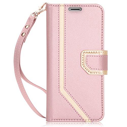 FYY Galaxy S9 Handyhülle,Samsung S9 Lederhülle mit [RFID Blocker][Spiegel][Standfunktion][Kartenfach] & Magnetverschluss Flip Brieftasche Schutzhülle für Samsung Galaxy S9 Handytasche-Rosa Gold
