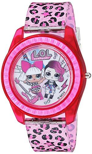L.O.L. Surprise! Reloj de cuarzo para niña con correa de plástico, color rosa, 17,6 (Modelo: LOL4000)
