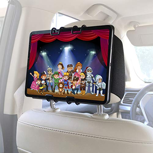 Macally Headrest Tablet Mount for Car - (Upgraded) iPad Holder for Car with Viewing Angle Adjustment and Elastic Straps - Keep Your Kids Happy - Mount Vertically or Horizontally
