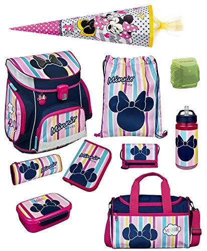 Familando Disney Minnie Maus Schulranzen-Set 10 TLG. Scooli Campus FIT mit Federmappe, Sporttasche, Schultüte 85cm und Regenschutz