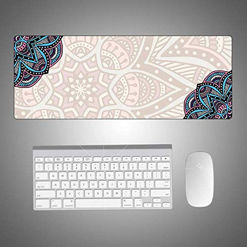Mandala Desk Pad Protector,Vintage Teal Floral Extended Gaming Mouse Mat,XXL Large Non-Slip Sewing Edge Office Laptop Mat Blotter On Top of Desks,Waterproof,Ultra Thin,Medium 31.5'X 11.8'/800Mmx300M