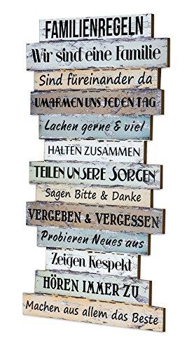 levandeo Holzschild Holzbild Wandbild mit Familienregeln im Shabby Chic Stil zum Aufhängen - bunt Familie Regeln Schild Holz Latten Dekoschild Wanddeko Bild Vintage Family