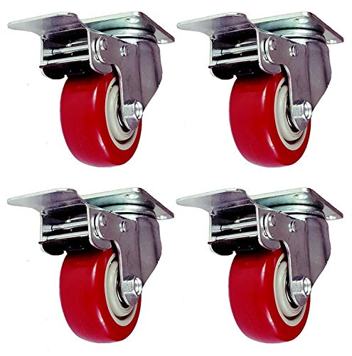Online Best Service 4 Pack Caster Wheels Swivel Plate with Brake On Red Polyurethane Wheels (3 inch...