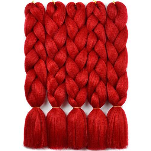 Top braiding hair kanekalon red for 2020