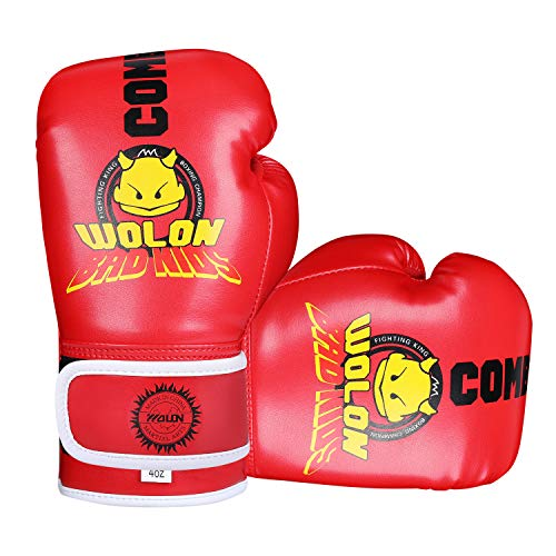 Kinder Boxhandschuhe 4oz Kinder Cartoon Sparring Boxhandschuhe Training Mitts Junior Punch PU Leder Alter 5–12 Jahre (rot 1)