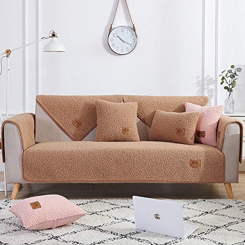 YUTJK Salón de sofá,Fundas de Asiento de sofá de Tela para Sala de Estar,Funda Protectora de Muebles,Funda de sofá de Lana de Cordero Engrosada,para sofá de 1/2/3/4 plazas,marrón_110×180cm