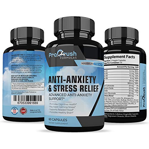 Anti-Anxiety & Stress Relief Supplement- Advanced Relief for Panic Attacks & Stress. Naturally Improves Mood & Relaxation. Enhances Serotonin Levels, Mental Focus, Sleep & Cognitive Function.