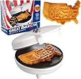 """The Great American USA Waffle Maker- Make Giant 7.5"""" Patriotic Waffles and Pancakes"""