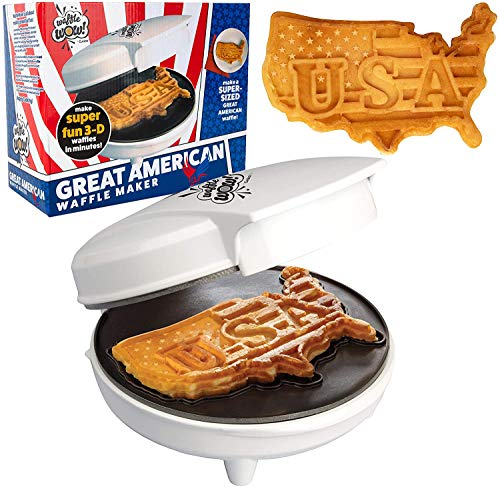 The Great American USA Waffle Maker- Make Giant 7.5' Patriotic Waffles or Pancakes w/ Pride - Electric Non-stick Waffler Iron with America Spirit - Fun Gift for Summer, Election or Parties