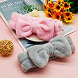 2 Pack Spa Headband ,Bowknot Coral Fleece Elastic Headband With 2 Silicone Face Mask Brush,for Women Girls Washing Face Beauty Skincare And Sports. (Gray,Pink)